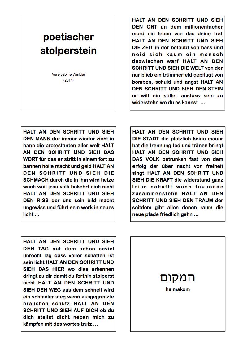Stolperstein - Texte